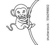 cute mokey cartoon icon vector... | Shutterstock .eps vector #556098802