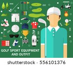 golf sport equipment and outfit ... | Shutterstock .eps vector #556101376