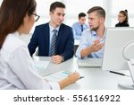 young businessmen discussing a... | Shutterstock . vector #556116922