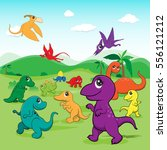 illustration of cute dinosaurs... | Shutterstock .eps vector #556121212