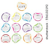 calendar 2017 with round glossy ...   Shutterstock .eps vector #556132192