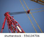 Small photo of line system of sling x-cross pattern on crane tower, derrick, lifting