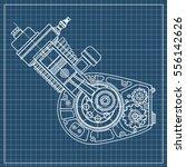 drawing an internal combustion...   Shutterstock .eps vector #556142626