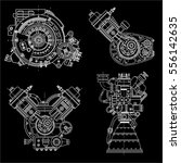 a set of drawings of engines  ... | Shutterstock .eps vector #556142635