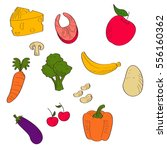 vegetables colorful set vector... | Shutterstock .eps vector #556160362