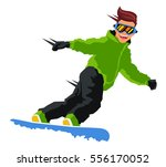 guy rides on a snowboard.... | Shutterstock .eps vector #556170052