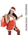 Beautiful Santa Woman With...
