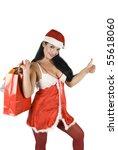 Beautiful Santa Woman With...