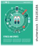 fitness  sports and healthy... | Shutterstock .eps vector #556181686