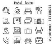 hotel icon set in thin line... | Shutterstock .eps vector #556188358