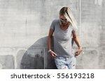 hipster girl wearing blank t... | Shutterstock . vector #556193218