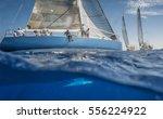 Blue Sailing Boat On The Sea...