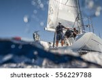 aft of sailing boat with... | Shutterstock . vector #556229788