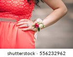 wedding wrist corsage  woman... | Shutterstock . vector #556232962