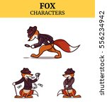 set of fox animal character.... | Shutterstock .eps vector #556234942