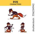 set of fox animal character....   Shutterstock .eps vector #556234942