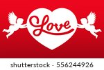 couples angels holding a heart. ... | Shutterstock .eps vector #556244926