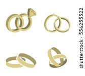 wedding rings set of gold metal ... | Shutterstock .eps vector #556255522