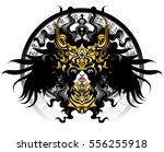 long haired valkyrie in a... | Shutterstock .eps vector #556255918