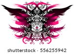 long haired valkyrie in a... | Shutterstock .eps vector #556255942