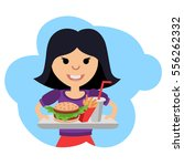 little girl with fast food in... | Shutterstock .eps vector #556262332