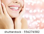 happy woman smiling on an... | Shutterstock . vector #556276582