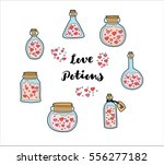 magical love potions set.... | Shutterstock .eps vector #556277182