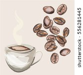 cup of coffee and coffee beans. | Shutterstock .eps vector #556281445