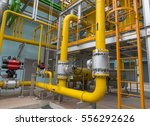 natural gas station with yellow ... | Shutterstock . vector #556292626