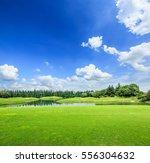 field of green grass and blue... | Shutterstock . vector #556304632