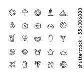 summer icons set outline holiday