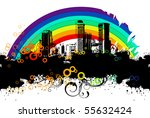 urban banner with a rainbow | Shutterstock .eps vector #55632424