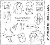 restaurant doodle set. vector... | Shutterstock .eps vector #556331302