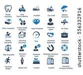 health insurance icons   blue... | Shutterstock .eps vector #556332916