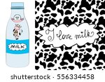 milk bottle with smile and cute ... | Shutterstock .eps vector #556334458