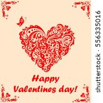 greeting card for valentines... | Shutterstock .eps vector #556335016