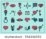 vector set of valentine's and... | Shutterstock .eps vector #556336552