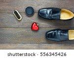 top view heart shape with men's ... | Shutterstock . vector #556345426