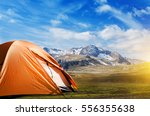tourist tent camping in... | Shutterstock . vector #556355638