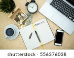 modern wooden office desk table ... | Shutterstock . vector #556376038