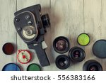 old movie camera with... | Shutterstock . vector #556383166