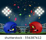 blue vs red helmet in american... | Shutterstock .eps vector #556387612