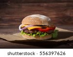 close up of burger on rustic...   Shutterstock . vector #556397626