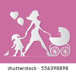 mom with daughter and baby in... | Shutterstock .eps vector #556398898