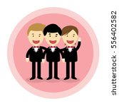 groomsmen on a pink background | Shutterstock .eps vector #556402582