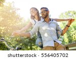 beautiful young couple having... | Shutterstock . vector #556405702
