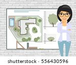 young girl landscape designer ... | Shutterstock .eps vector #556430596