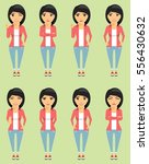 young girl. set of expressions... | Shutterstock .eps vector #556430632