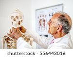 physician with skeleton