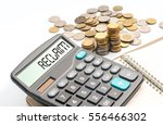 coins and calculator with... | Shutterstock . vector #556466302
